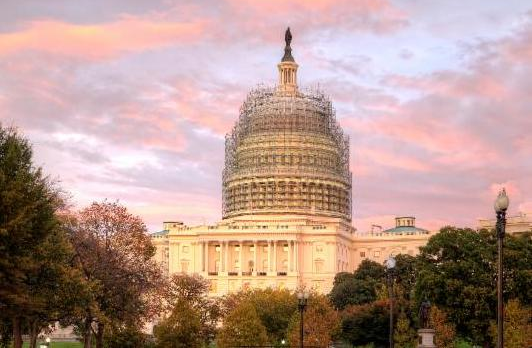 capitol-scaffolding-sunset