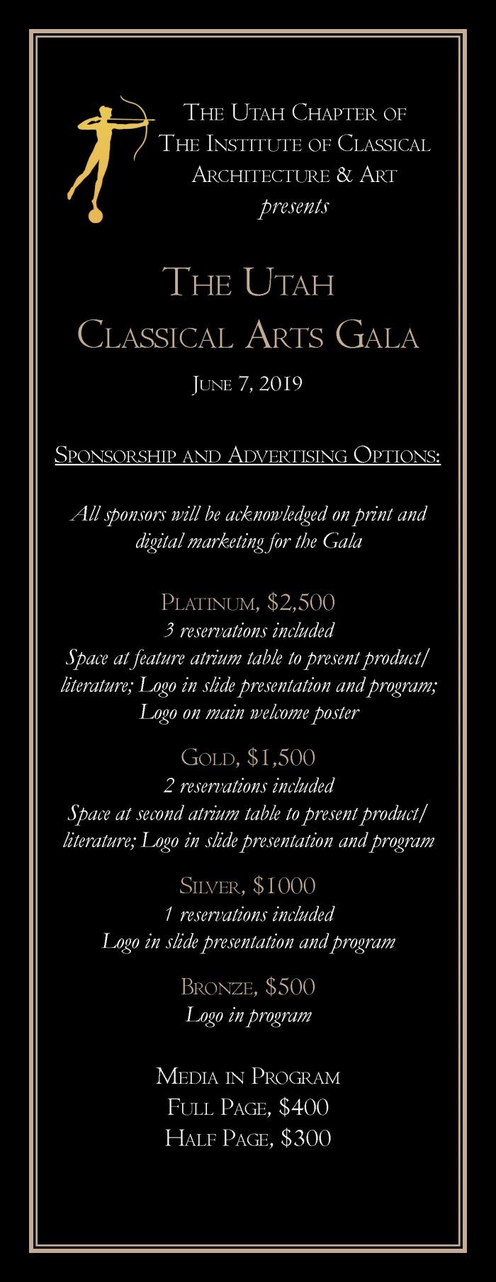 2019 ICAA Classical Arts Gala Sponsorships